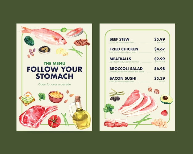 レストランや食品店の水彩イラストのケトン食療法の概念を持つ大きなメニューテンプレート。