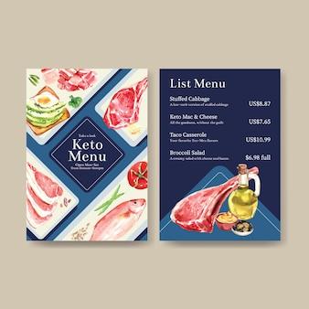 레스토랑 및 식품 가게 수채화 그림에 대한 케톤 다이어트 개념이있는 큰 메뉴 템플릿.