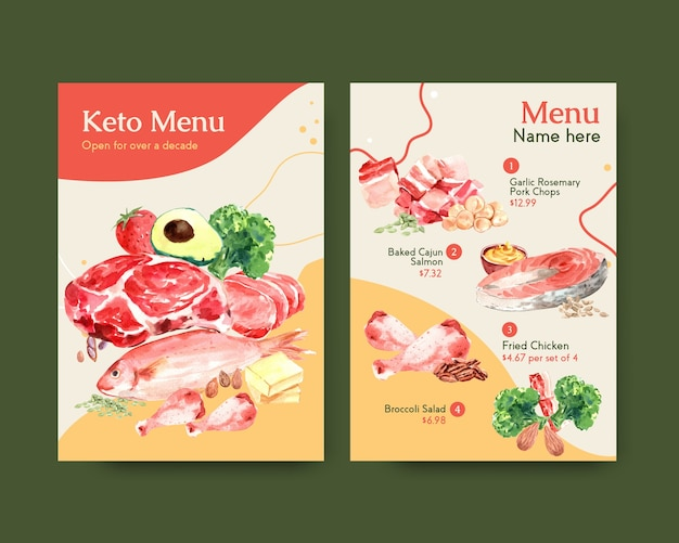 Big menu template with ketogenic diet concept for restaurant and food shop watercolor illustration.