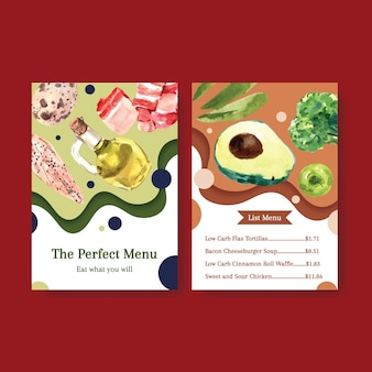 Grande modello di menu con il concetto di dieta chetogenica per l'illustrazione dell'acquerello del ristorante e del negozio di alimentari.