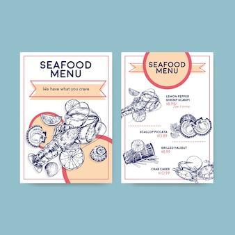 레스토랑 및 식품 가게 그림에 대한 해산물 컨셉 디자인으로 큰 메뉴 템플릿