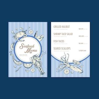 Big menu template with seafood concept design for restaurant and food shop  illustration