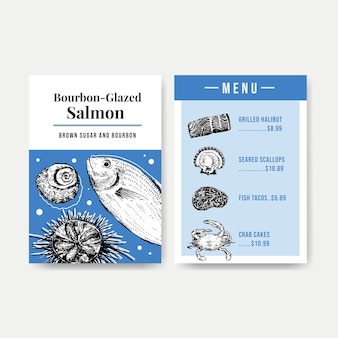 Modello di menu grande con concept design di frutti di mare per illustrazione di ristorante e negozio di alimentari