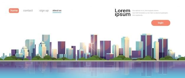 Big modern city skyscraper panoramic view