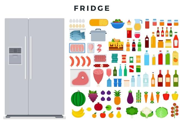 大きなモダンな密閉型冷蔵庫とさまざまな食品のセット