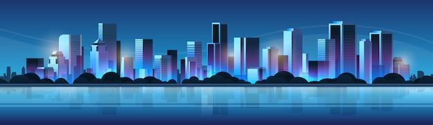 Big modern night city building skyscraper panoramic view