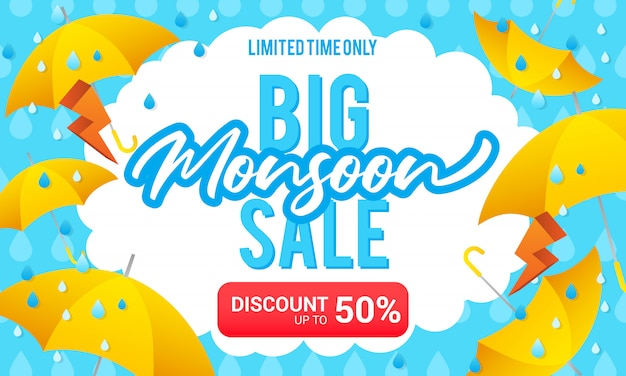 Big monsoon sale illustration