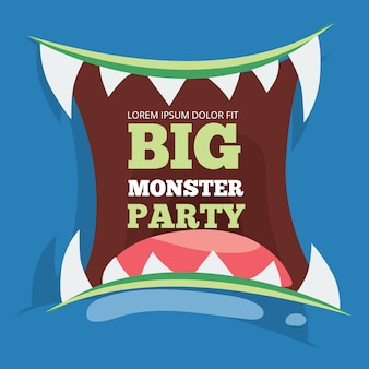 Big monster party banner with monster