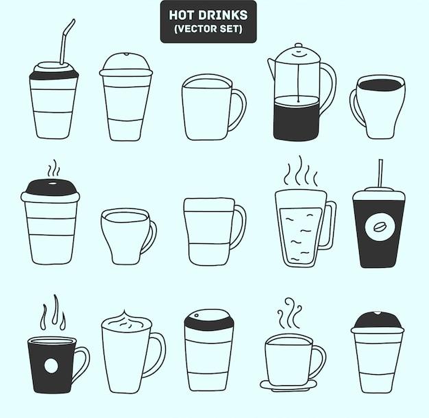 Большая кружка. набор иконок напитков, какао, кофе. инструкция по завариванию чая и кофе. подготовка пакетиков зеленого чая, руководство по горячим напиткам и руководство по использованию кофеварки.