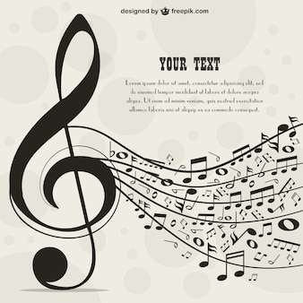 Big music key background with music notes