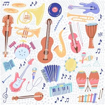 Большой музыкальный набор музыкальных инструментов и символов значки коллекции
