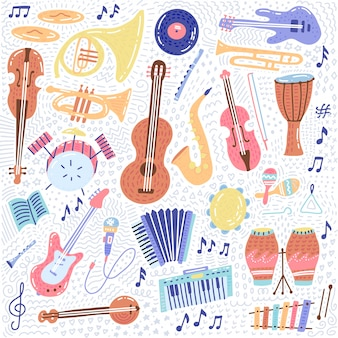 Big music set musical instrument and symbols icons collections