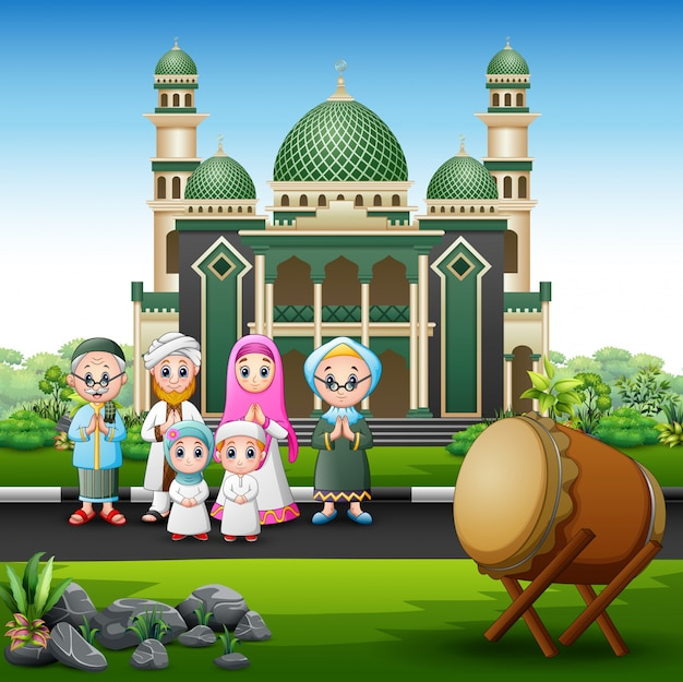 A big muslim family in front the mosque