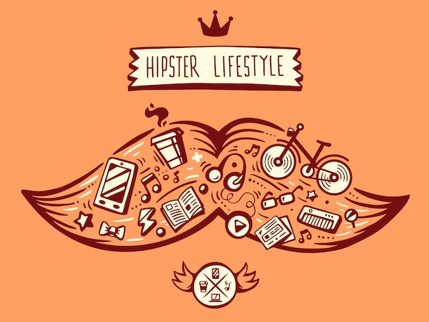 Of big mustache of hipster life style