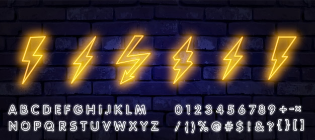 Big neon set of lightning bolt. glowing electric flash sign, thunderbolt electricity power icons.