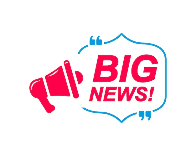 Big news labels speech bubbles with megaphone icon banner for social media website faq