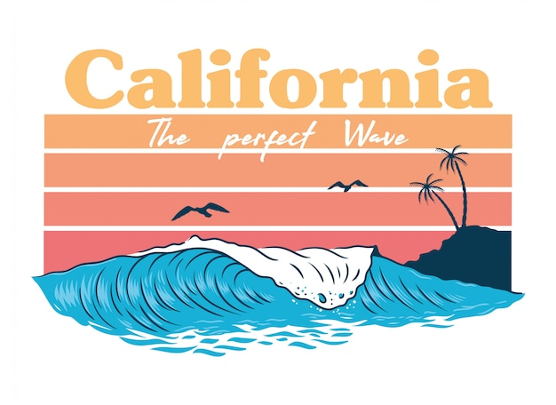 Big ocean perfect wave on california