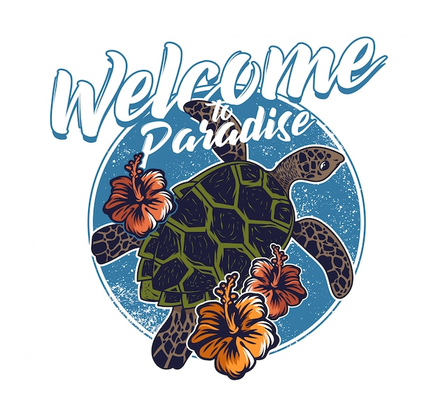 Big ocean sea wild turtle swimming blue water welcome to paradise