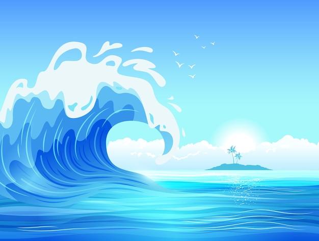 熱帯の島の平らなイラストと大きな海の波