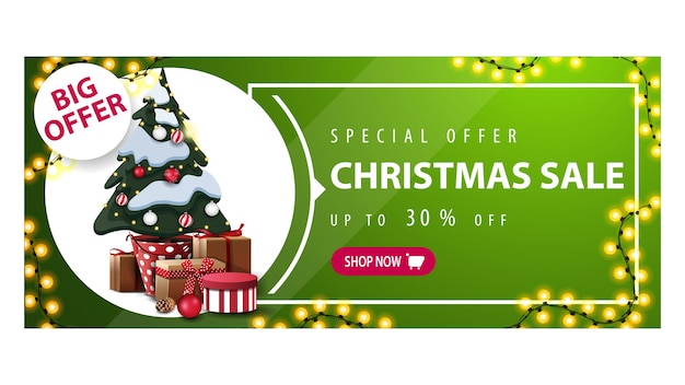 Big offer, christmas sale, green horizontal discount banner with garland, button and christmas tree in a pot with gifts
