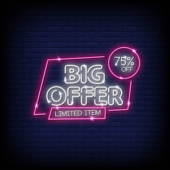 Big offer neon signs style text