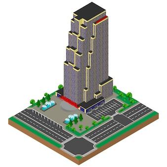 大きなオフィスビル。超高層ビル。等尺性。