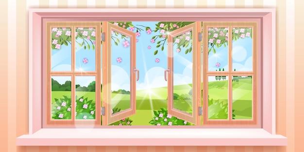 Большая открытая домашняя иллюстрация окна с видом на весеннюю природу, цветами, ветвями, солнечным светом. сцена сельской местности с деревянными створками, холмами, деревьями, кустами. открытое стеклянное окно, стены, подоконник