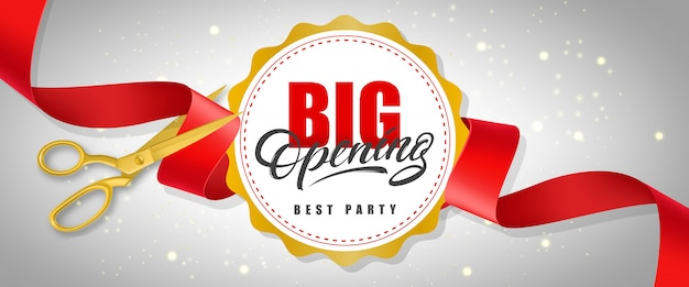 Big opening, best party sparkling banner with text on white circle and gold scissors