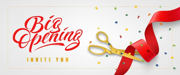 Big opening, invite you festive banner in frame with confetti and gold scissors