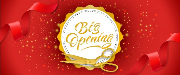 Big opening red sparkling banner with gold scissors, red ribbons and text on white circle