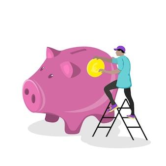 黄金のコインが入った大きな貯金箱。金融サービス、小さな男、お金を節約または節約する、または銀行預金を開く。