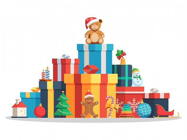 Big pile gift boxes and toys