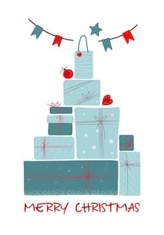 青いラップされたギフトボックスと白い背景で隔離の花輪の大きな山。ボクシングデーやクリスマスのコンセプト。新年の贈り物。