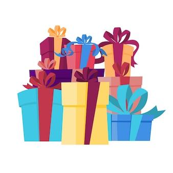 リボン付きギフトボックスの大きな山。誕生日やクリスマスプレゼント。図