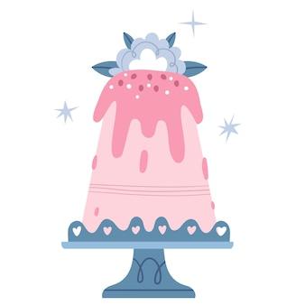 レーススタンドに青い花が付いた大きなピンクのケーキ。結婚式のカップケーキ。女の子の誕生日。
