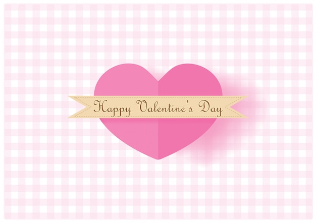 Big pink hearts in paper cut style background