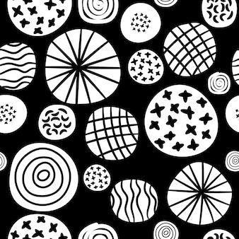 大きな水玉のスケッチパターン。ファブリックプリントのベクトル黒と白の手描きのスポットまたは円ドットグラフィックシームレステクスチャ