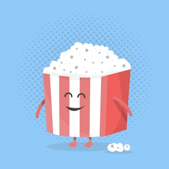 큰 팝콘 상자 얼굴입니다. 다리와 손이 있는 캐릭터. 영화 아이콘 평면 디자인 스타일입니다. 벡터 일러스트 레이 션