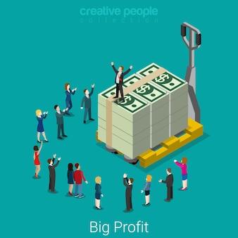 Большая прибыль, рывок. плоские изометрические бизнес-концепция успеха микро-бизнесменов большой доллар деньги пачка поддон.