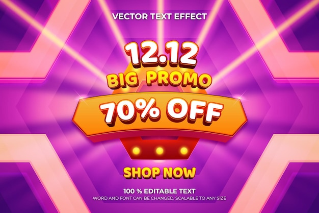 Big promo editable 3d text effect with hexagonal shape purple color background