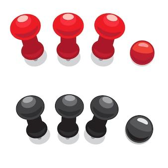 Big pushpins set of isolated vector illustrations