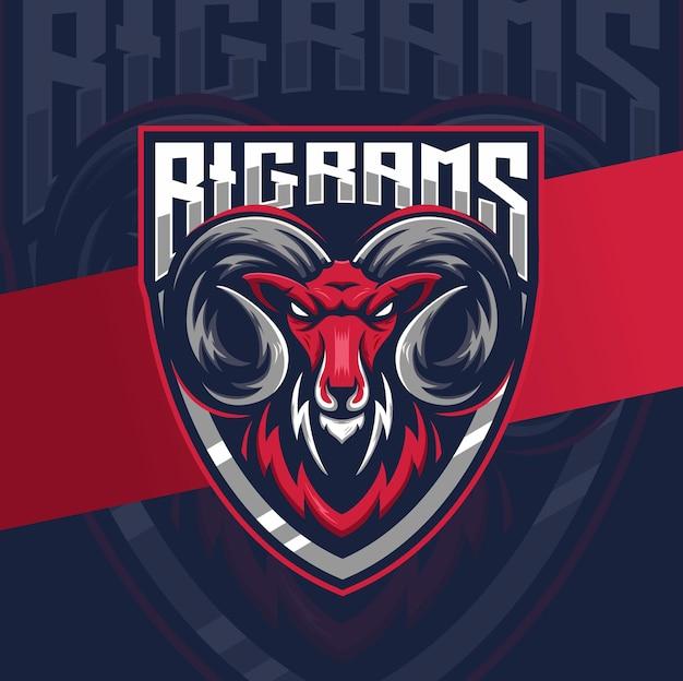 게임 및 스포츠를 위한 큰 숫양 염소 머리 마스코트 esport 로고 디자인