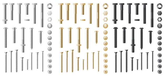Большой реалистичный набор из нержавеющей стали, серебряных и золотых болтов, гвоздей, шестеренок и шурупов. промышленное оборудование, вид сверху и сбоку, головки с гайками и шайбами. 3d векторные иллюстрации