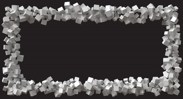 Большая прямоугольная рамка, образованная кубами случайного размера