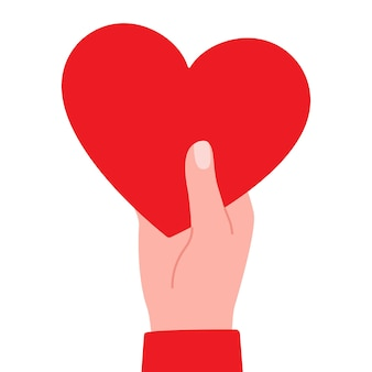 Big red heart in hand as symbol of love illustration
