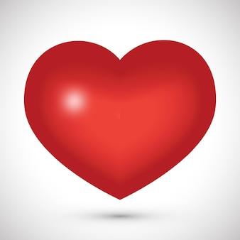 白い背景の上の大きな赤いハート。愛のシンボル。ベクトルイラスト。