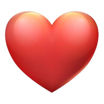 白い背景の上の大きな赤いハートバレンタインデーのサイン愛のシンボル