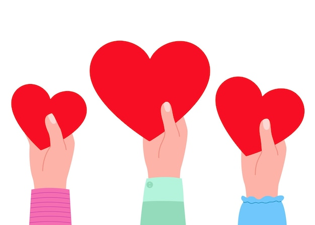 Big red hearts in hands as symbol of love illustration