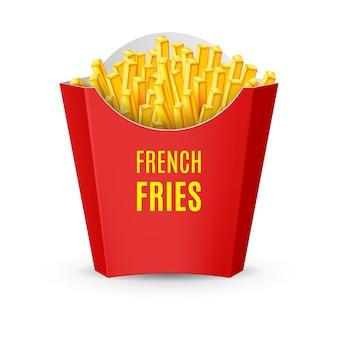 Большой красный пакет с картофелем фри. иллюстрация значка быстрого питания на белом