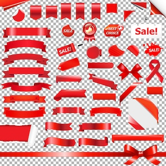 Big red ribbon set, isolated on transparent